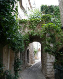 Old street in Saint-Paul, France. This is the photo of old houses in Saint-Paul, French Riviera Stock Images