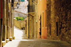 Old street of San Marino. The oldest sovereign state and constitutional republuc in the world - San Marino. Ancient european country in a medieval atmosphere Royalty Free Stock Photos