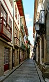 Old street Santa Maria in Guimaraes royalty free stock photo