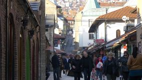 Old Street Sarajevo. Old street with old shops in old part of Sarajevo on sunny autumn afternoon filmed in 4K stock footage