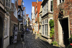 Old street at Schnoor Quarter, oldest district of Bremen, Germany Royalty Free Stock Photos