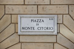 Old street sign at Montecitorio Square in Rome Stock Photography