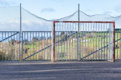 Old street soccer goal royalty free stock photography