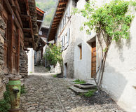 Old  street in  Soglio. Stock Images
