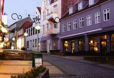 Old street  in Sonderborg, Southern Denmark Royalty Free Stock Image