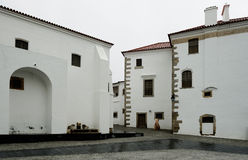 Old street and square at Evora, Portugal Stock Photo