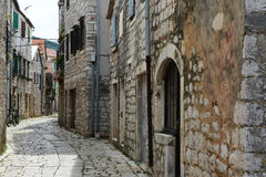 Old street in Stari Grad, Croatia Stock Photo