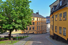 Old street in Stockholm Stock Images