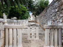 Old street in Sucuraj, Hvar island, Croatia with ruins stock photography