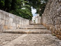 Old street in Sucuraj, Hvar island, Croatia with stairs royalty free stock photography