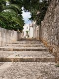 Old street in Sucuraj, Hvar island, Croatia with stairs royalty free stock photos