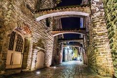 Old street in Tallinn at night, Estonia Royalty Free Stock Photos