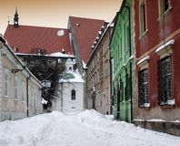 Old street in town Bratislava Royalty Free Stock Photography