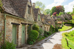 Old street with traditional cottages Stock Images