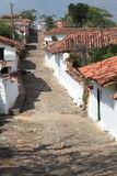 The old street. Traditional street in the village of leyva, colombia Stock Images