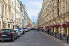 Old street Vetoshny lane in the historical center of Moscow, Ru royalty free stock image
