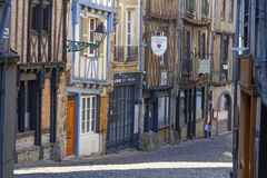 Old street in Vieux-Le Mans. Royalty Free Stock Photography
