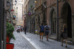 Old street in Vieux Lyon Stock Images