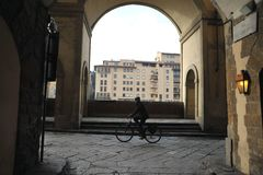 Old street view in Florence city , Italy . Winter day in Florence city Royalty Free Stock Photography