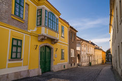 Old street view in Szekesfehervar old town, Hungary. Stock Photography