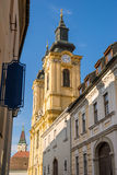 Old street view in Szekesfehervar old town, Hungary. Royalty Free Stock Images