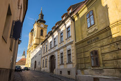 Old street view in Szekesfehervar old town, Hungary Stock Photo