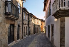 Old street in Vila do Conde Royalty Free Stock Photos