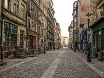 Old street with vintage pavage from Bucharest Royalty Free Stock Photo