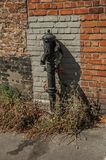 Old street water pump made in iron in front of a brick wall at the city of Bruges. Stock Images