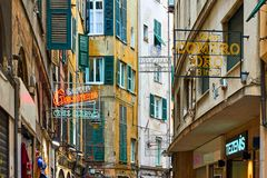 Free Old Street With Signboards In Genoa Stock Photography - 157031602