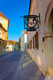 Old street of Zagreb upper town. Vertical view, capital of Croatia Stock Image