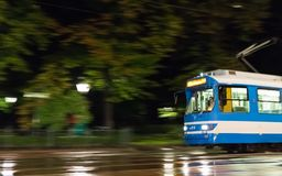 The old streetcar of krakow in motion royalty free stock photo