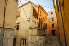 The old streets of the ancient town of Labin, Croatia. Holidays and sightseeing of the old architecture Stock Photo