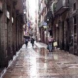 Old streets of Barrio Gotico Royalty Free Stock Photo