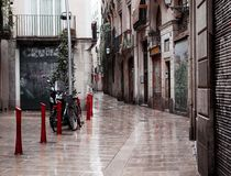 Old streets of Barrio Gotico Stock Images