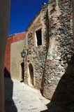 Old streets of byzantine town Monemvasia,greece stock images