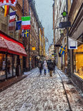 Old  streets of a Christmas in Stockholm, Sweden Stock Images