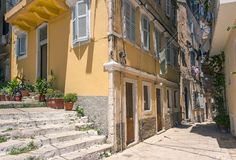 Old streets, Corfu town Stock Images