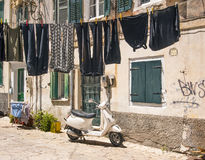 Old streets, Corfu town Stock Photos