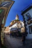 At the old streets of Czech Krumlov, Czech Republic Stock Photo