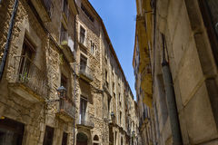 Old streets in Girona. Spain stock photography
