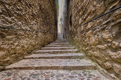 Old streets in Girona. Spain stock images