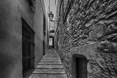 Old streets in Girona. Spain royalty free stock images