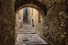 Old streets in Girona. Spain stock image