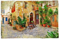 Old streets of Greece, Crete Stock Photography