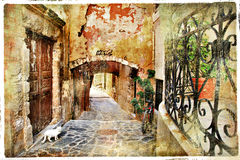 Old streets of Greece, Crete,Chania royalty free stock photos