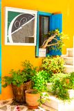 Charming floral colorful streets of old town in Naxos island. Gr Royalty Free Stock Image