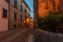 Old Streets of Groznjan, Istria. Street of Old Town Groznjan, Istria, Croatia, photographed with my Nikon D750 at Winter afternoon and blue Hour stock photo
