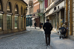 The old streets in the historic center of the Old Town of the Prague. Stock Photos