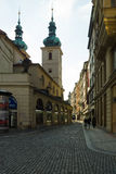 The old streets in the historic center of the Old Town of the Prague. Royalty Free Stock Image